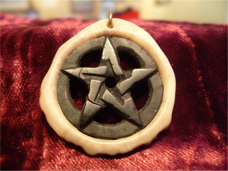 pentacle necklace in black cow horn and elk antler
