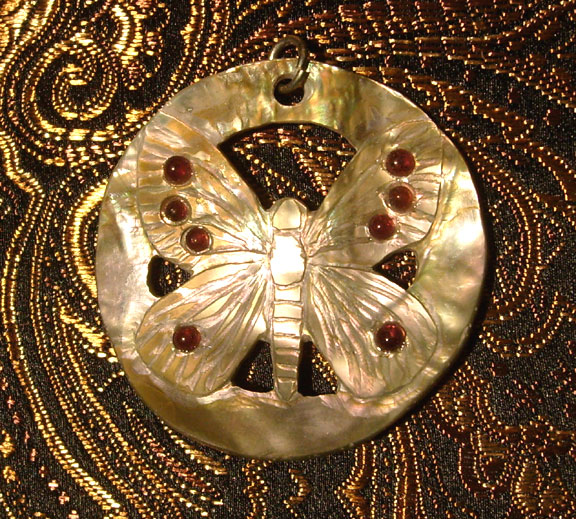 abalone with garnet butterfly pendant