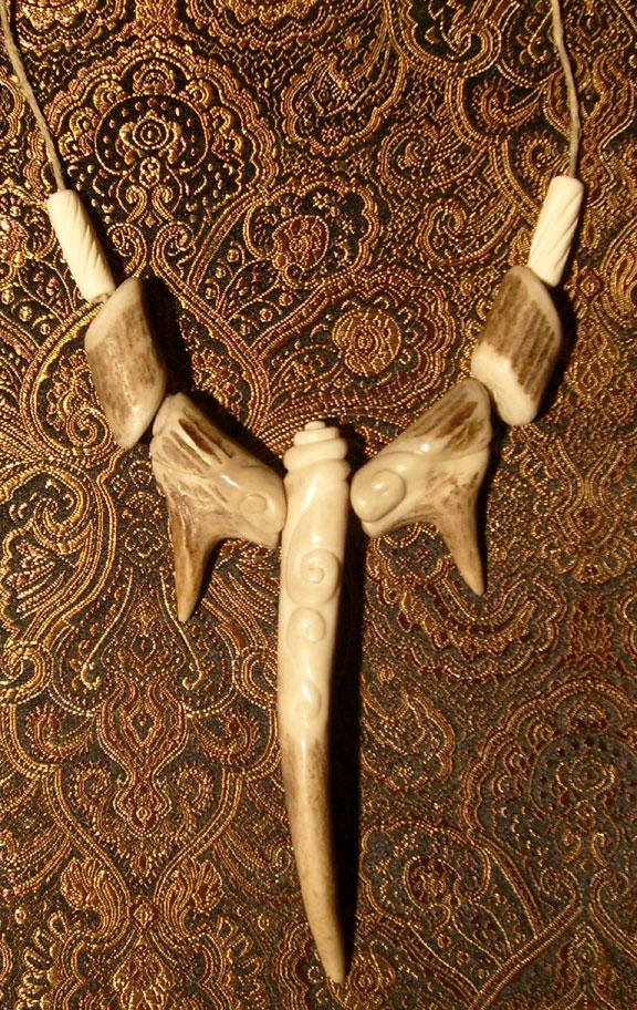 carved antler necklace