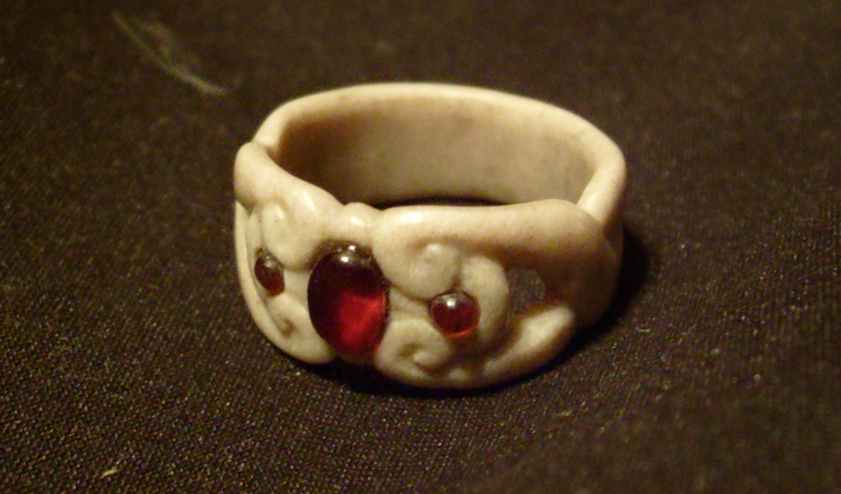 antler and garnet ring